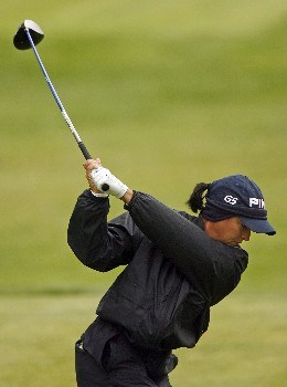 CLIFTON, NJ - MAY 19:  Sherri Steinhauer hits her tee shot on the 10th hole during the third round of the LPGA Sybase Classic at Upper Montclair Country Club on May 19, 2007 in Clifton, New Jersey. (Photo by Hunter Martin/Getty Images)