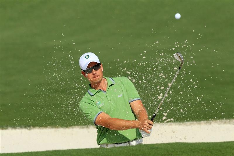AUGUSTA, GA - APRIL 07:  Henrik Stenson of Sweden plays a bunker shot during a practice round prior to the 2010 Masters Tournament at Augusta National Golf Club on April 7, 2010 in Augusta, Georgia.  (Photo by David Cannon/Getty Images)