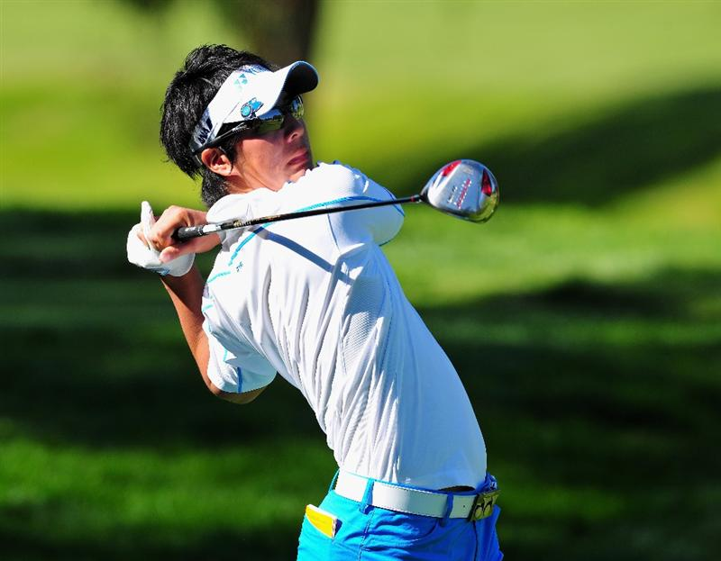 PACIFIC PALISADES, CA - FEBRUARY 19:  Ryo Ishikawa of Japan plays his tee shot on the eighth hole during the first round of the Northern Trust Open at the Riviera Country Club February 19, 2009 in Pacific Palisades, California.  (Photo by Stuart Franklin/Getty Images)