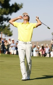 Will MacKenzie reacts to his win during the fourth and final round of the Reno Tahoe Open held at Montreux Golf and Country Club in Reno, Nevada, on August 27, 2006.Photo by Stan Badz/PGA TOUR/WireImage.com
