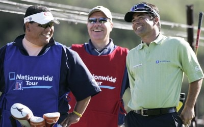 David Morland IV, right, jokes with a couple of caddies during the second round of the Livermore Valley Wine Country Championship held at The Course at Wente Vineyards in Livermore, California, on March 23, 2007. Photo by: Stan Badz/PGA TOURPhoto by: Stan Badz/PGA TOUR