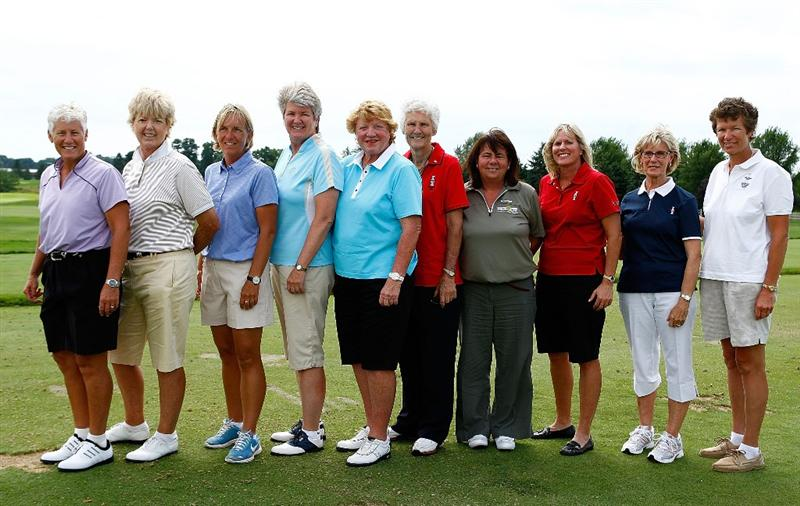 SUGAR GROVE, IL - AUGUST 19:  Past Solheim Cup team captains (L-R) Patty Sheehan, Pat Bradley, Pia Nilsson, Alice Miller, Joanne Carner, Kathy Whitworth, Dale Reid, Betsy King, Judy Rankin and Mickey Walker pose for a photo at a past Solheim Cup Captain's fan session prior to the start of the 2009 Solheim Cup at Rich Harvest Farms on August 19, 2009 in Sugar Grove, Illinois.  (Photo by Scott Halleran/Getty Images)