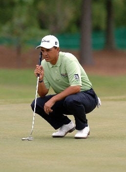 Tom Pernice Jr. lines up his putt during the Final Round of The Fedex St. Jude Classic at TPC @ Southwind in Memphis, Tennessee on May 29, 2005.Photo by Joe Murphy/WireImage.com