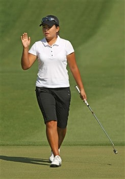RANCHO MIRAGE, CA - APRIL 06:  Inbee Park of Korea waves after making a putt on the second green during the final round of the Kraft Nabisco Championship at Mission Hills Country Club on April 6, 2008 in Rancho Mirage, California.  (Photo by Stephen Dunn/Getty Images)