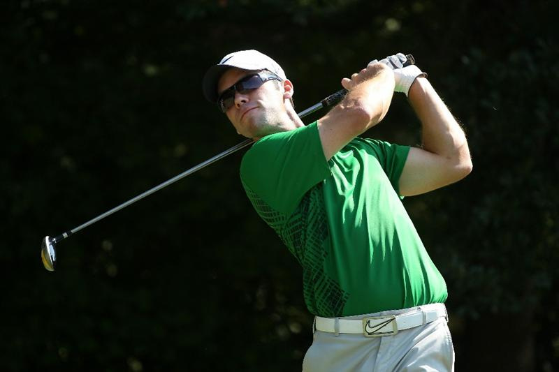ATLANTA - SEPTEMBER 25:  Paul Casey of England hits his tee shot on the third hole during the third round of THE TOUR Championship presented by Coca-Cola at East Lake Golf Club on September 25, 2010 in Atlanta, Georgia.  (Photo by Scott Halleran/Getty Images)