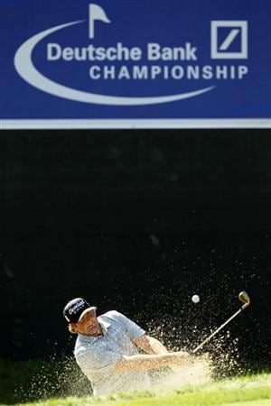 NORTON, MA - SEPTEMBER 04:  Steve Marino hits a shot out of the bunker on the 17th hole during the second round of the Deutsche Bank Championship at TPC Boston on September 4, 2010 in Norton, Massachusetts.  (Photo by Mike Ehrmann/Getty Images)