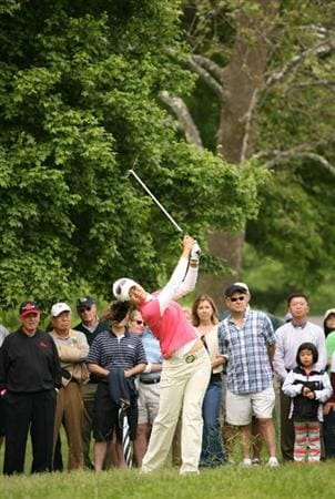 CLIFTON, NJ - MAY 16 : Ji Young Oh of South Korea hits her second shot on the 13th hole during the third round of the Sybase Classic presented by ShopRite at Upper Montclair Country Club on May 16, 2009 in Clifton, New Jersey. (Photo by Hunter Martin/Getty Images)
