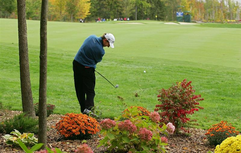 VERNON, NY - OCTOBER 02:  Brad Faxon playing in his first tournament of the year, plays a shot during the first round of the Turning Stone Resort Championship at Atunyote Golf Club held on October 2, 2008 in Vernon, New York.  (Photo by Michael Cohen/Getty Images)