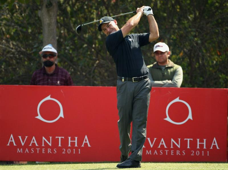 NEW DELHI, INDIA - FEBRUARY 20:  Robert Coles of England competes during the fourth round of the Avantha Masters held at The DLF Golf and Country Club on February 20, 2011 in New Delhi, India.  (Photo by Ian Walton/Getty Images)