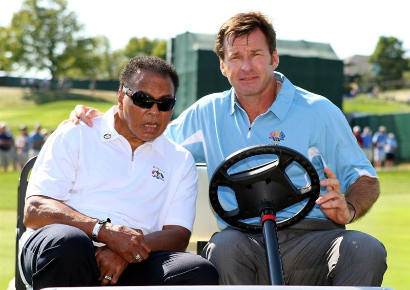 LOUISVILLE, KY - SEPTEMBER 18:  European team captain Nick Faldo poses with boxing great Muhammad Ali prior to the 2008 Ryder Cup at Valhalla Golf Club on September 18, 2008 in Louisville, Kentucky.  (Photo by Andrew Redington/Getty Images)