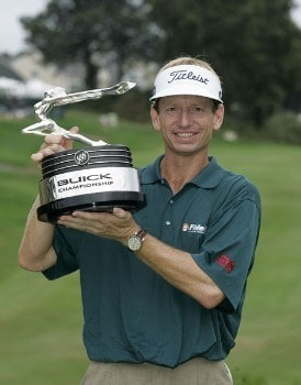 Brad Faxon holds the trophy after winning a one hole playoff after the fourth round of the Buick Championship at the Tournament Players Club at River Highlands in Cromwell, Connecticut on August 28, 2005.Photo by Michael Cohen/WireImage.com