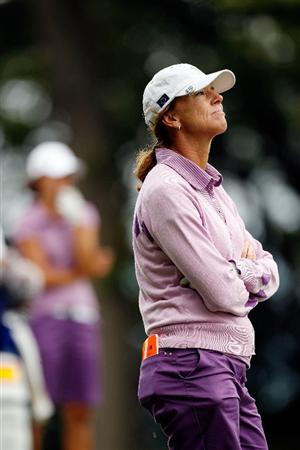 SUGAR GROVE, IL - AUGUST 20:  Helen Alfredsson of the European Team waits to hit a shot during a practice round prior to the start of the 2009 Solheim Cup at Rich Harvest Farms on August 20, 2009 in Sugar Grove, Illinois.  (Photo by Chris Graythen/Getty Images)
