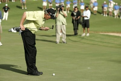 Hale Irwin blows dirt off his putter on the 18th green during the PGA TOUR's Wendy's Championship Skins Game, February 6, 2006 at the Wailea Golf Club in Wailea, Maui, Hawaii.Photo by Marco Garcia/WireImage.com