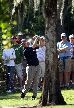 LAKE BUENA VISTA, FLORIDA - NOVEMBER 03:  Brett Wetterich hits his second shot at the 9th hole on the Magnolia Course during the third round of The Childrens Miracle Network Classic held on the Palm and Magnolia Courses at The Disney Shades of Green Resort, on November 3, 2007 in Lake Buena Vista, Florida,  (Photo by David Cannon/Getty Images)