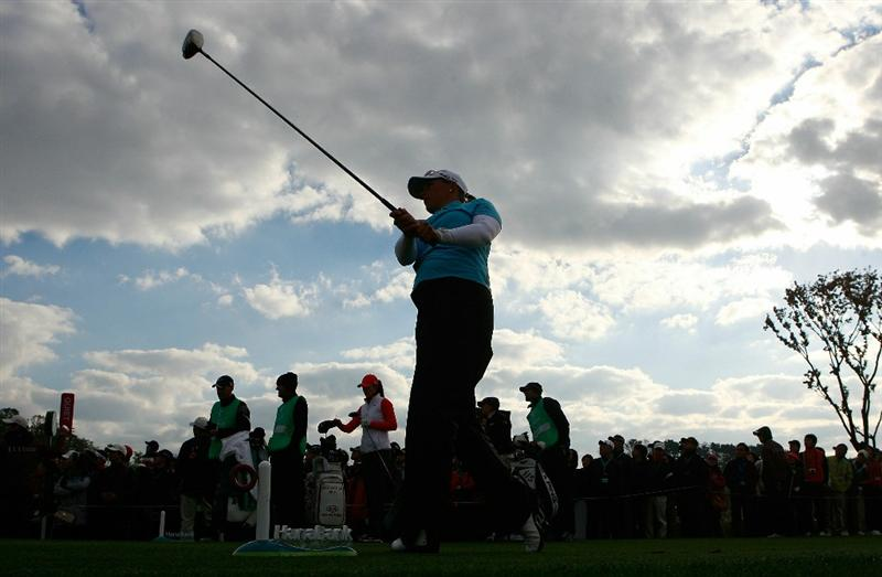 INCHEON, SOUTH KOREA - OCTOBER 31:  Katherine Hull of Australia hits a tee shot on the second hole during the 2010 LPGA Hana Bank Championship at Sky 72 Golf Club on October 31, 2010 in Incheon, South Korea.  (Photo by Chung Sung-Jun/Getty Images)