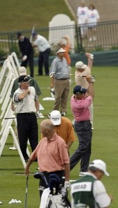 Players warm up on the driving range during the first round of the Regions Charity Classic held at Robert Trent Jones Golf Trail at Ross Bridge in Birmingham, AL, on May 5, 2006.Photo by Steve Levin/WireImage.com