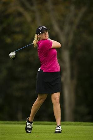 CHON BURI, THAILAND - FEBRUARY 20:  Cristie Kerr of USA tees off on the 9th hole during round three of the Honda PTT LPGA Thailand at Siam Country Club on February 20, 2010 in Chon Buri, Thailand.  (Photo by Victor Fraile/Getty Images)