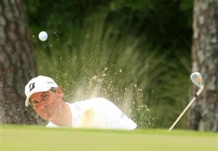 PONTE VEDRA BEACH, FL - MAY 10:  Fred Couples plays from a bunker on the second hole during the third round of THE PLAYERS Championship on THE PLAYERS Stadium Course at TPC Sawgrass on May 10, 2008 in Ponte Vedra Beach, Florida.  (Photo by Scott Halleran/Getty Images)