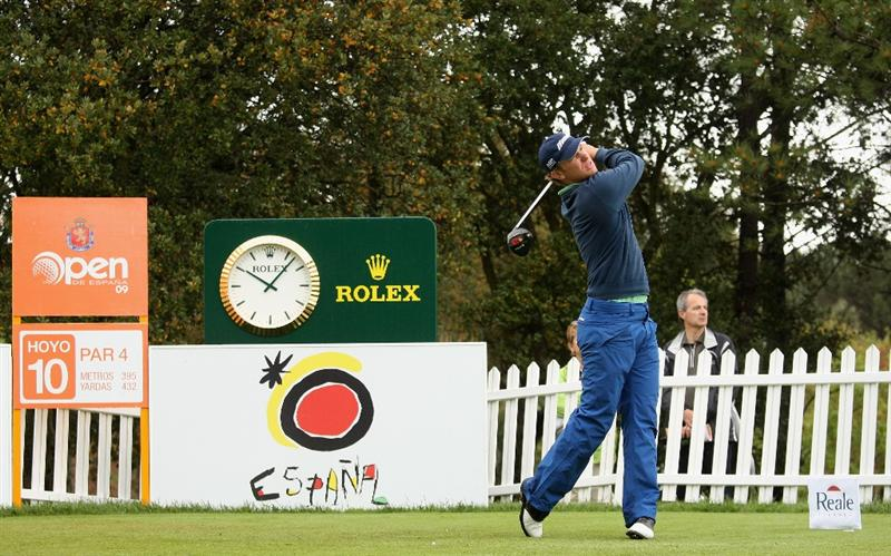 GIRONA, SPAIN - MAY 01:  Magnus A Carlsson of Sweden tees off on the 10th hole during the second round of the Open de Espana at the PGA Golf Catalunya on May 1, 2009 in Girona, Spain.  (Photo by Warren Little/Getty Images)