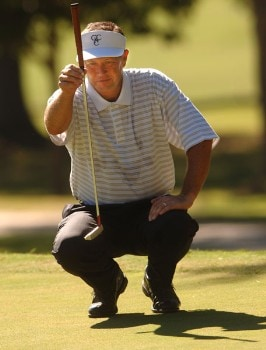 Rod Spittle lines up a putt during the first round of the Champion's TOUR 2005 SBC Championship at Oak Hills Country Club in San Antonio, Texas October 21, 2005.Photo by Steve Grayson/WireImage.com