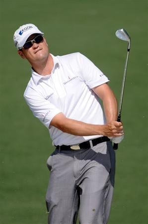 AUGUSTA, GA - APRIL 05:  Zach Johnson plays from a shot during a practice round prior to the 2010 Masters Tournament at Augusta National Golf Club on April 5, 2010 in Augusta, Georgia.  (Photo by Harry How/Getty Images)