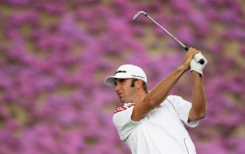 ICHEON, SOUTH KOREA - APRIL 28:  Dustin Johnson of the USA in action during the first round of the Ballantine's Championship at Blackstone Golf Club on April 28, 2011 in Icheon, South Korea.  (Photo by Andrew Redington/Getty Images)