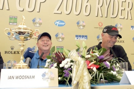 Ian Woosnam, Captain of the European Ryder Cup Team (left) and Tom Lehman, Captain of the US Ryder Cup Team, during the 2006 Ryder Cup press conference at the Smurfit European Open on the Palmer Course at the K Club on June 29, 2005.Photo by Pete Fontaine/WireImage.com
