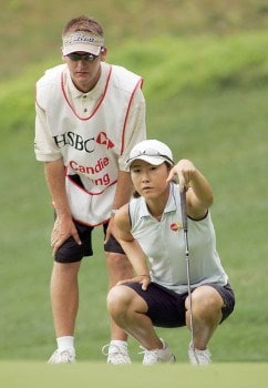 Candie Kung prepares to putt on the second hole during the second round of the 2005 HSBC Women's World Match Play Championship at Hamilton Farm Golf Club in Gladstone, New Jersey on Friday, July 1, 2005.Photo by Richard Schultz/WireImage.com