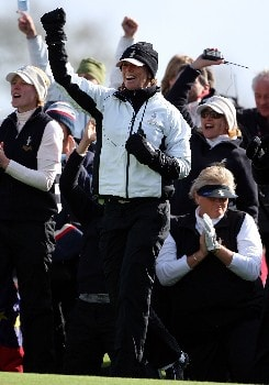 HALMSTAD, SWEDEN - SEPTEMBER 15:  European Team Captain Helen Alfredsson celebrates a victory in the final match of the 2007 Solheim Cup the Halmstad Golf Club September 15, 2007 in Halmstad, Sweden.  (Photo by Andy Lyons/Getty Images)