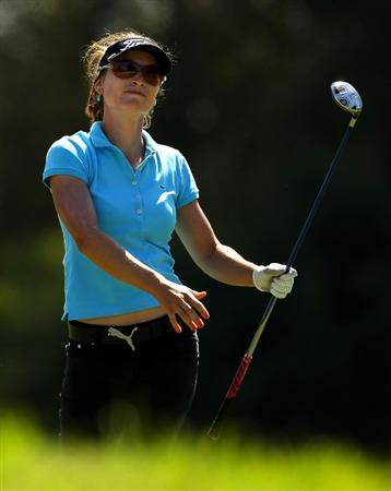 MELBOURNE, AUSTRALIA - MARCH 12:  Stefanie Michl of Austria follows the flight of her fairway wood on the sixth hole during round two of the 2010 Women's Australian Open at The Commonwealth Golf Club on March 12, 2010 in Melbourne, Australia.  (Photo by Mark Dadswell/Getty Images)