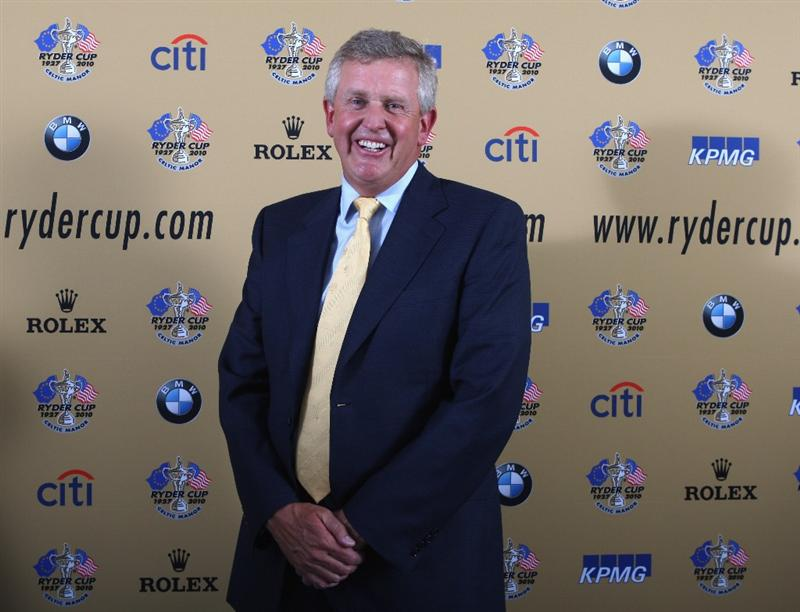 DUBAI, UNITED ARAB EMIRATES - JANUARY 28:  Colin Montgomerie of Scotland, the 2010 RyderCup Captain, poses after his press conference prior to the Dubai Desert Classic on the Majlis Course on January 29, 2009 in Dubai,United Arab Emirates.  (Photo by Ross Kinnaird/Getty Images)