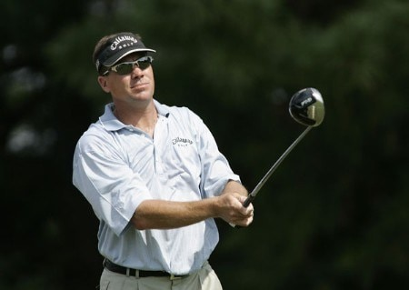Brandt Jobe watches his drive in action during the fourth round of the Chrysler Classic of Greensboro at Forest Oaks Country Club in Greensboro, North Carolina on October 2, 2005.Photo by Michael Cohen/WireImage.com