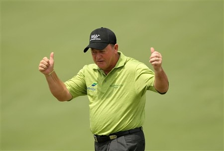 AUGUSTA, GA - APRIL 10:  Ian Woosnam of Wales celebrates making birdie on the second hole during the first round of the 2008 Masters Tournament at Augusta National Golf Club on April 10, 2008 in Augusta, Georgia.  (Photo by Harry How/Getty Images)