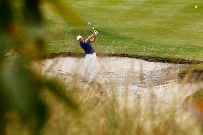 MELBOURNE, AUSTRALIA - NOVEMBER 29:  Jamie Donaldson of Wales plays out of the bunker on the seventh hole during the third round of the 2008 Australian Masters at Huntingdale Golf Club on November 29, 2008 in Melbourne, Australia  (Photo by Quinn Rooney/Getty Images)