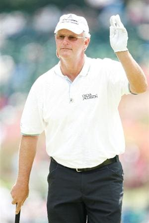 AUGUSTA, GA - APRIL 11:  Sandy Lyle of Scotland waves to the gallery on the sixth hole during the third round of the 2009 Masters Tournament at Augusta National Golf Club on April 11, 2009 in Augusta, Georgia.  (Photo by Jamie Squire/Getty Images)