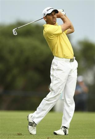 MELBOURNE, AUSTRALIA - NOVEMBER 12:  Sergio Garcia of Spain plays a shot during day four of the Australian Masters at The Victoria Golf Club on November 12, 2010 in Melbourne, Australia.  (Photo by Lucas Dawson/Getty Images)