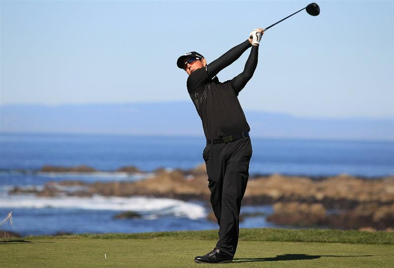 PEBBLE BEACH, CA - FEBRUARY 12:  Matt McQuillan of Canada tees off on the 13th hole at the AT&T Pebble Beach National Pro-Am- Round Three at the Monterey Peninsula country club on February 12, 2011 in Pebble Beach, California.  (Photo by Jed Jacobsohn/Getty Images)