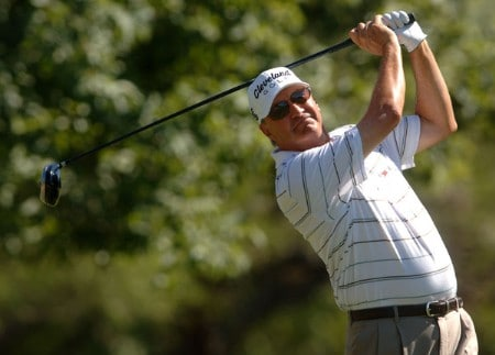 Don Pooley hits from the 12th tee during the second round of the Champion's TOUR 2005 SBC Championship at Oak Hills Country Club in San Antonio, Texas October 22, 2005.Photo by Steve Grayson/WireImage.com
