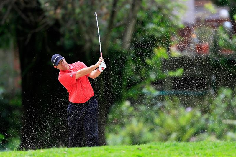 BOGOTA, COLOMBIA - MARCH 03:  Stephen Gangluff hits out of  a bunker on the second hole during the first round of the Pacific Rubiales Bogota Open Presented by Samsung at Country Club de Bogota on March 3, 2011 in Bogota, Colombia.  (Photo by Chris Trotman/Getty Images)
