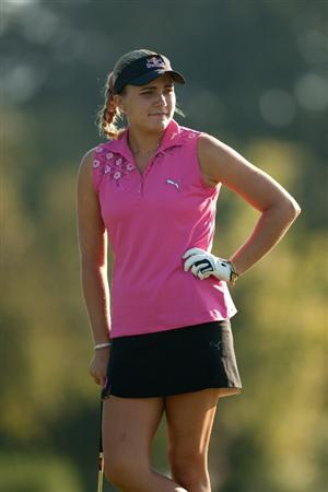 PRATTVILLE, AL - OCTOBER 8: Alexis Thompson waits on teh green during the second round of the Navistar LPGA Classic at the Senator Course at the Robert Trent Jones Golf Trail on October 8, 2010 in Prattville, Alabama. (Photo by Darren Carroll/Getty Images)