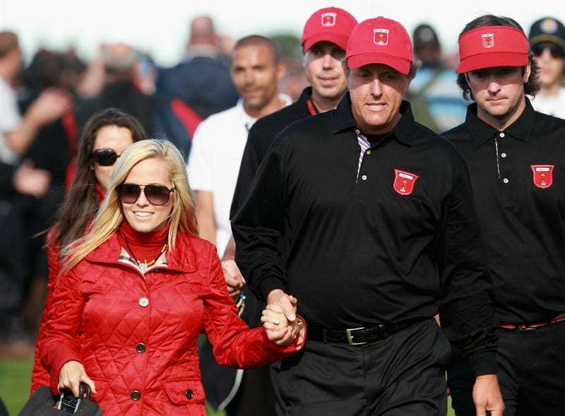 NEWPORT, WALES - OCTOBER 04:  Phil Mickelson of the USA walks with his wife Amy and teammates Matt Kuchar and Bubba Watson after the singles matches during the 2010 Ryder Cup at the Celtic Manor Resort on October 4, 2010 in Newport, Wales.  (Photo by Andrew Redington/Getty Images)