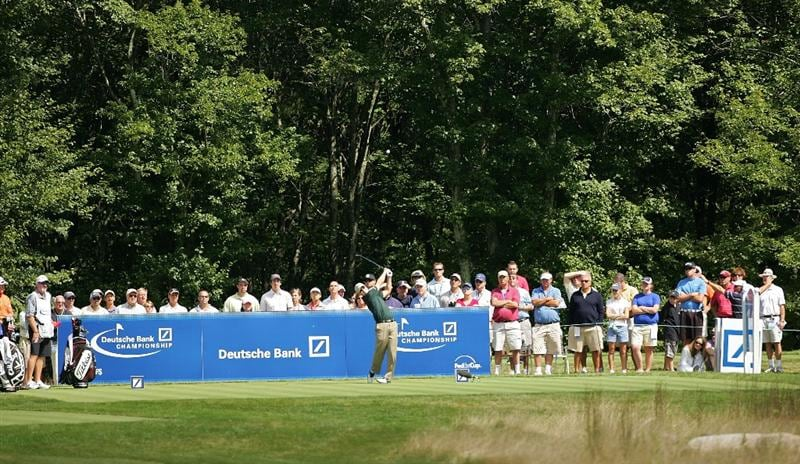 NORTON, MA - SEPTEMBER 06:  Zach Johnson hits his drive on the 14th hole during the third round of the Deutsche Bank Championship at TPC Boston held on September 6, 2009 in Norton, Massachusetts.  (Photo by Michael Cohen/Getty Images)