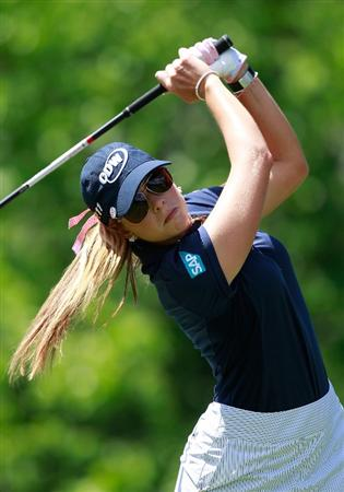 GLADSTONE, NJ - MAY 21: Paula Creamer hits her tee shot on the tenth hole in round three of the Sybase Match Play Championship at Hamilton Farm Golf Club on May 20, 2011 in Gladstone, New Jersey.  (Photo by Chris Trotman/Getty Images)