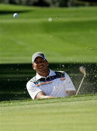 LA QUINTA, CA - JANUARY 22:  Jhonattan Vegas of Venezuela hits out of a bunker on the 15th hole during round four of the Bob Hope Classic at La Quinta Country Club on January 22, 2011 in La Quinta, California.  (Photo by Stephen Dunn/Getty Images)