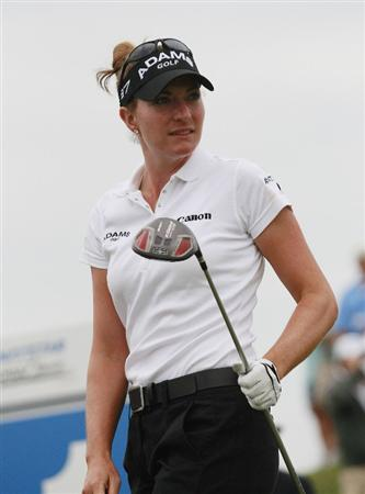 PRATTVILLE, AL - OCTOBER 4:  Brittany Lang watches her drive from the first tee during final round play in the Navistar LPGA Classic at the Robert Trent Jones Golf Trail at Capitol Hill on October 4, 2009 in  Prattville, Alabama.  (Photo by Dave Martin/Getty Images)