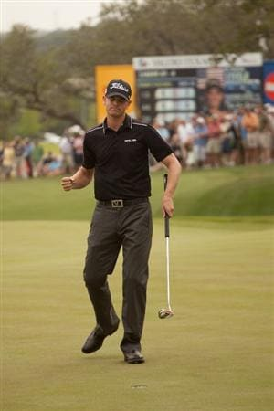 SAN ANTONIO, TX - APRIL 17: Brendan Steele celebrates his victory at the Valero Texas Open on the 18th green of the AT&T Oaks Course at TPC San Antonio on April 17, 2011 in San Antonio, Texas. (Photo by Darren Carroll/Getty Images)