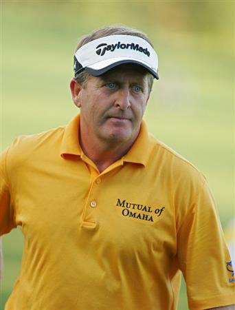 TIMONIUM, MD - OCTOBER 12: Fred Funk leaves the 18th green after missing a birdie putt to tie for the lead during the final round of the Constellation Energy Senior Players Championship at Baltimore Country Club East Course held on October 12, 2008 in Timonium, Maryland (Photo by Michael Cohen/Getty Images)