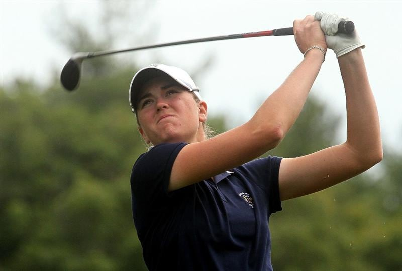 MANCHESTER, MA - JUNE 12: Cydney Clanton in the United States watches her shot in Four Ball competition during the second day of the 2010 Curtis Cup Match at the Essex Country Club on June 12, 2010 in Manchester, Massachusetts. (Photo by Jim Rogash/Getty Images)