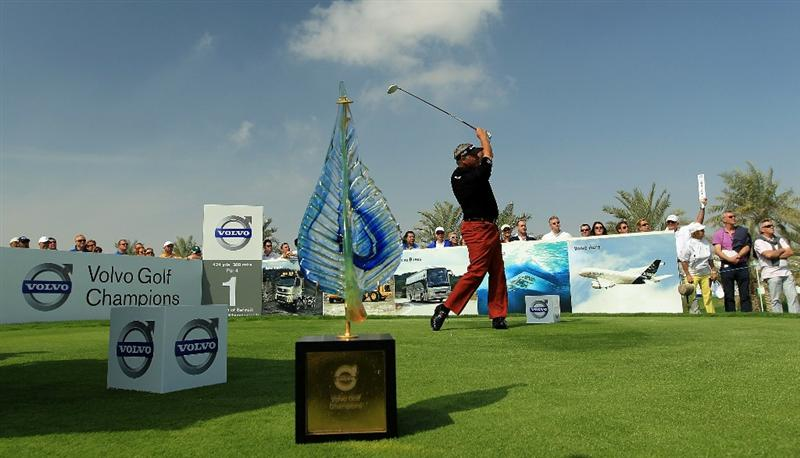BAHRAIN, BAHRAIN - JANUARY 30:  Darren Clarke of Nortehrn Ireland plays his tee shot at the1st hole during the final round of the 2011 Volvo Champions held at the Royal Golf Club on January 30, 2011 in Bahrain, Bahrain.  (Photo by David Cannon/Getty Images)