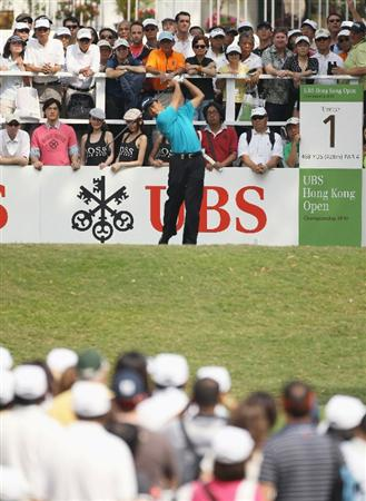 HONG KONG - NOVEMBER 21:  Anthony Kang of the USA in action during day four of the UBS Hong Kong Open at The Hong Kong Golf Club on November 21, 2010 in Hong Kong.  (Photo by Ian Walton/Getty Images)